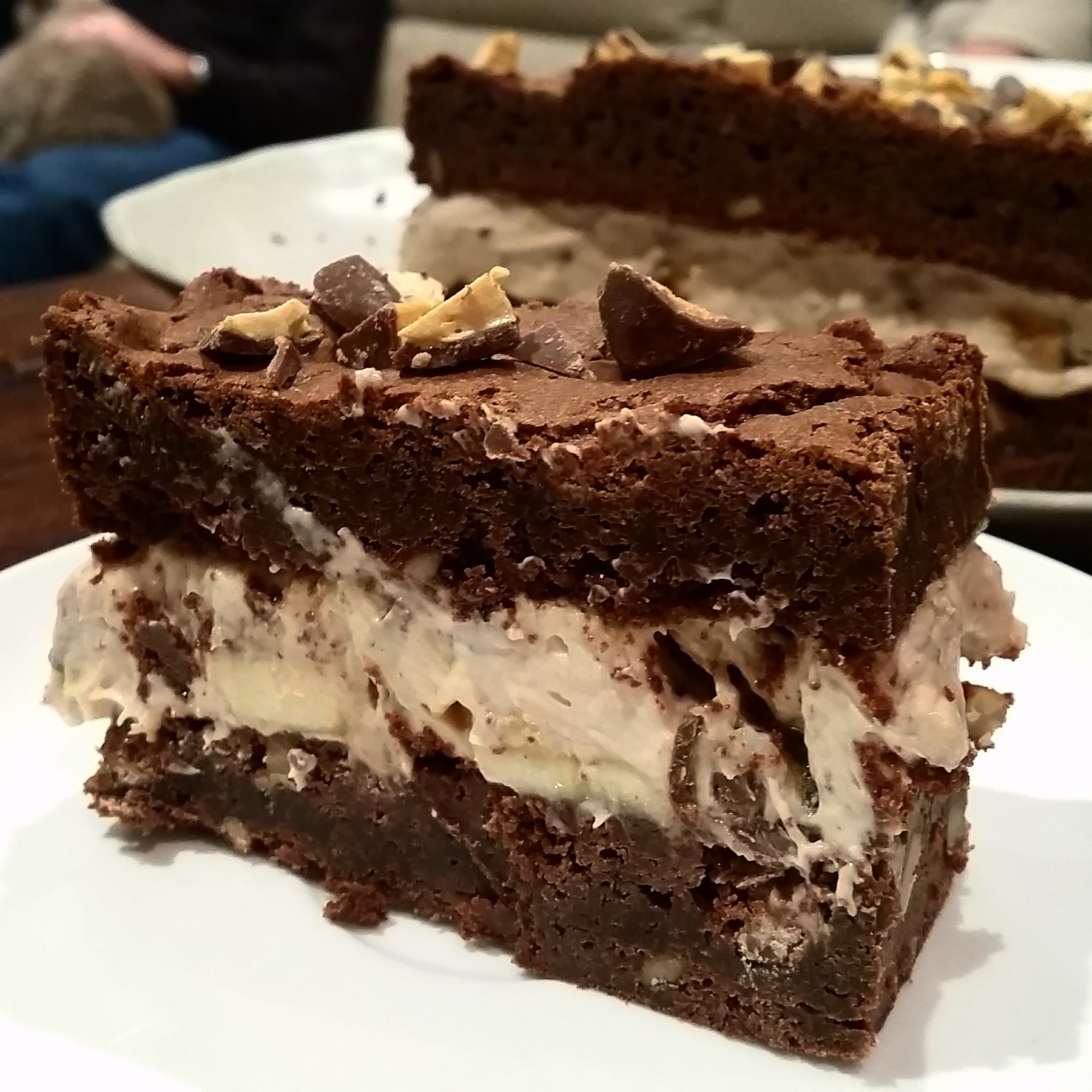Brownie Sandwich with Peanut Butter Mascarpone and Honeycomb